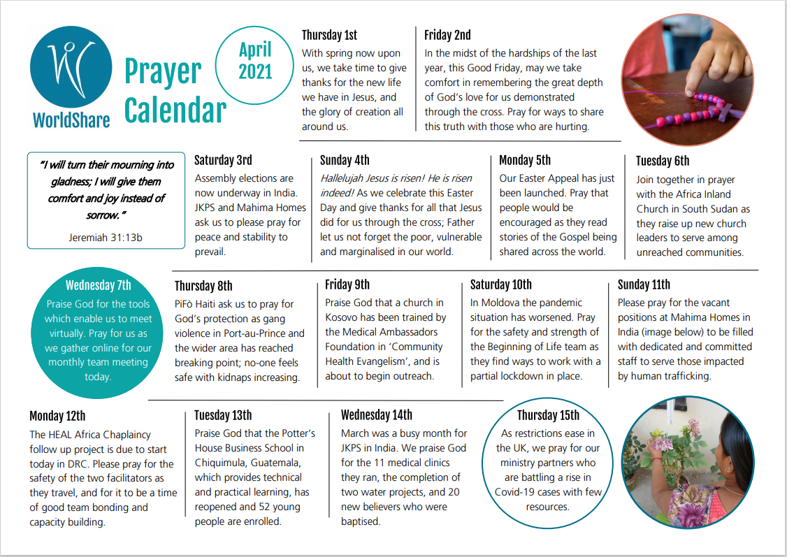 April Prayer Calendar snapshot