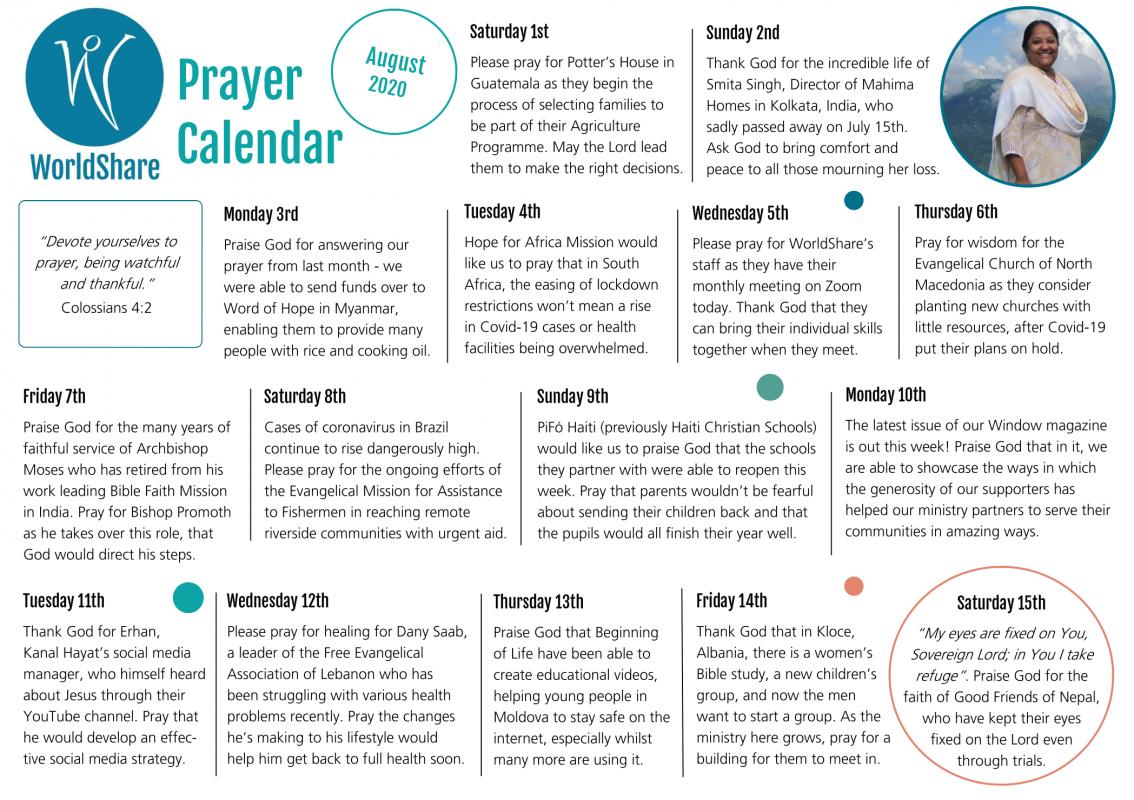 August 2020 Prayer Calendar Image