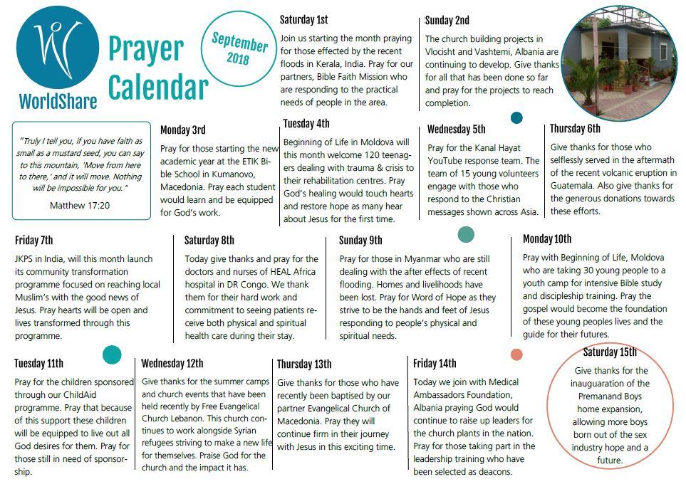 September 2018 prayer calendar