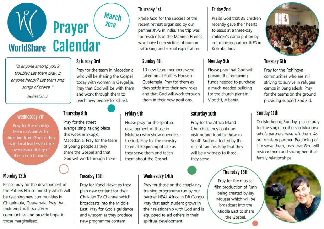 Prayer Calendar March 2018