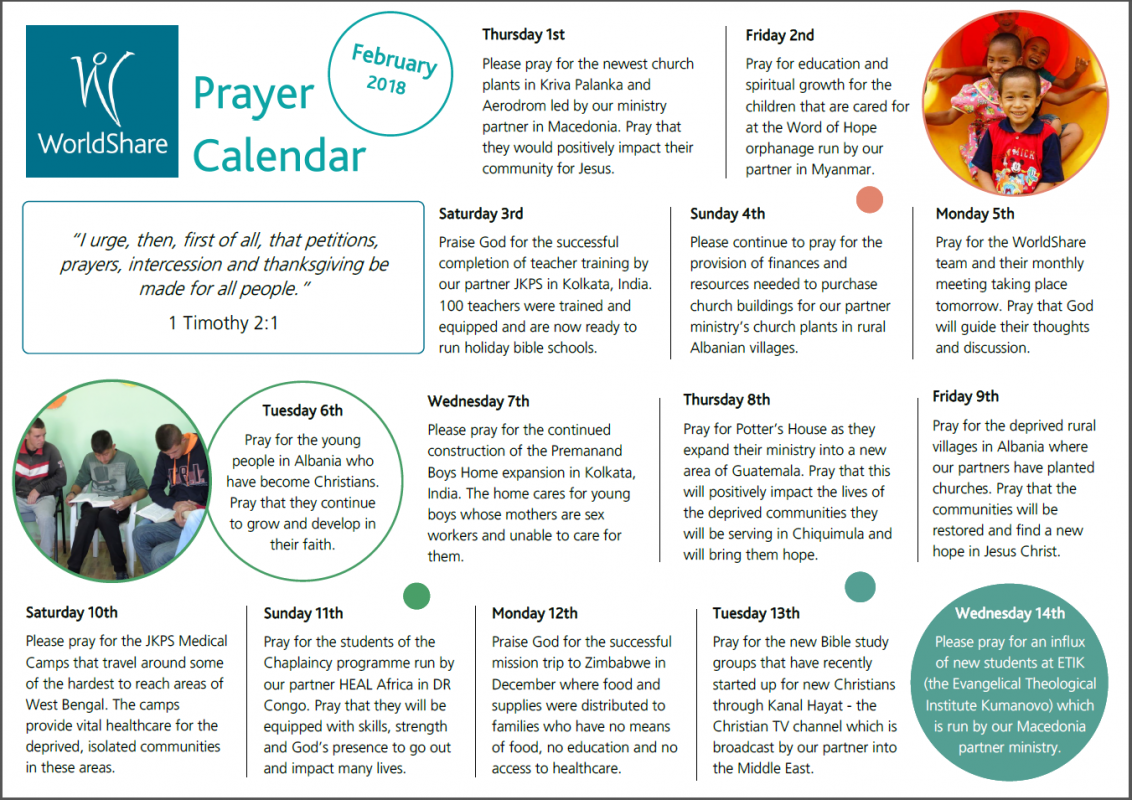 Feb prayer calendar