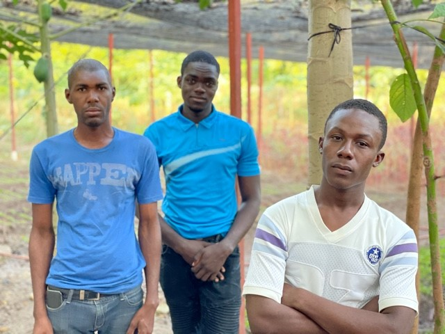 Haiti - Garden workers from the Wesleyan Church (L to R Daniel, Peter, Kendy)