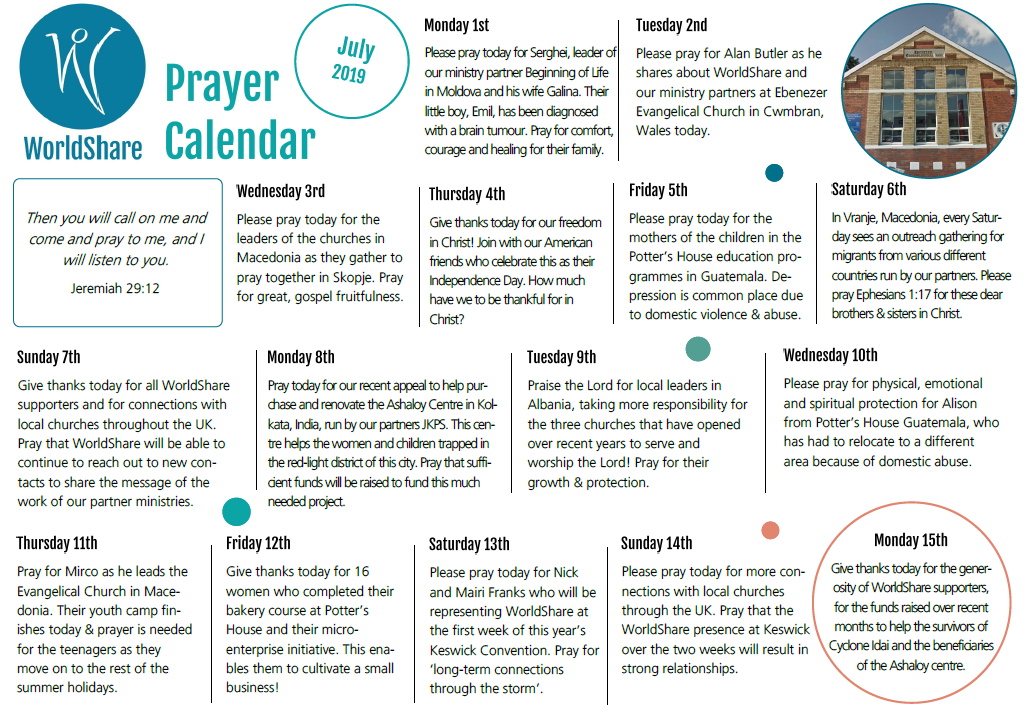 July prayer calendar 2019