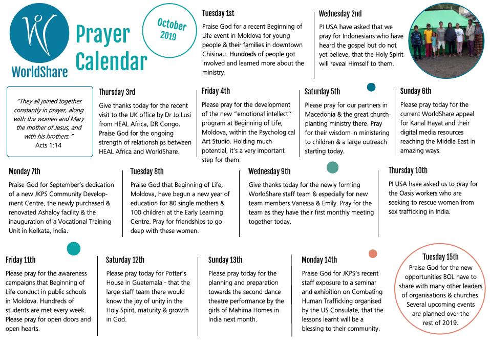 October Prayer Calendar 2019