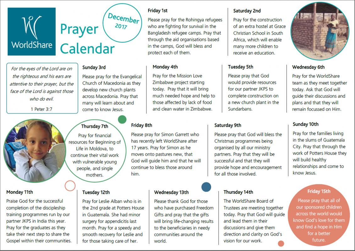 Prayer Calendar Dec 2017