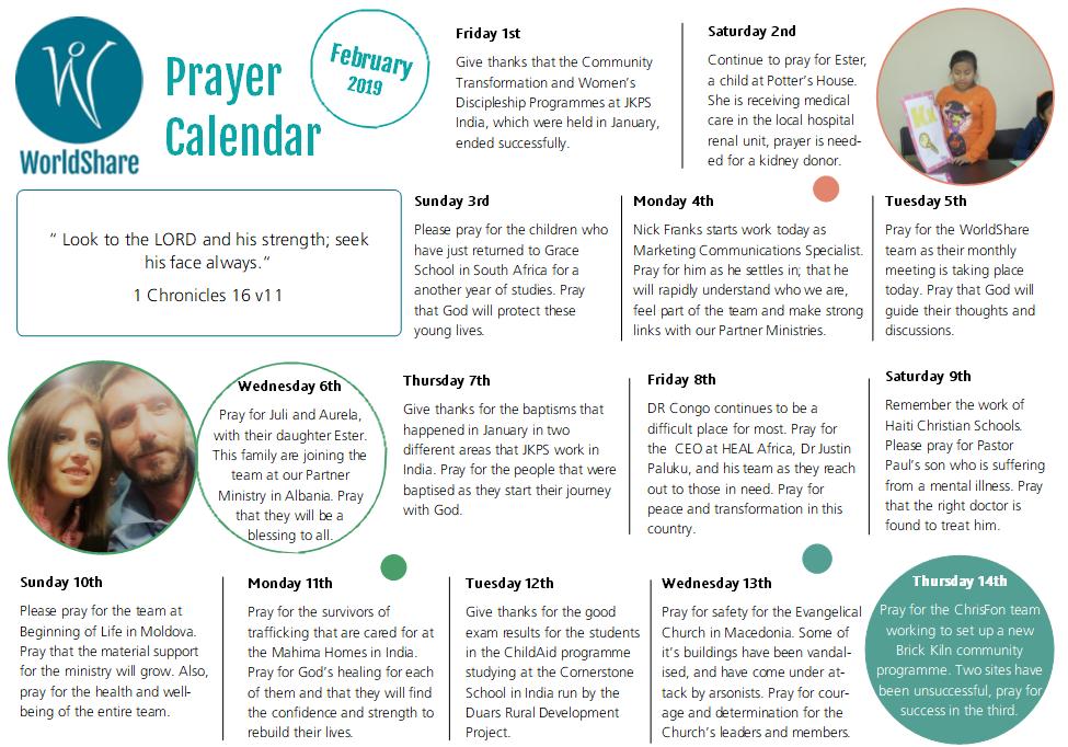 Prayer Calendar   February 2019