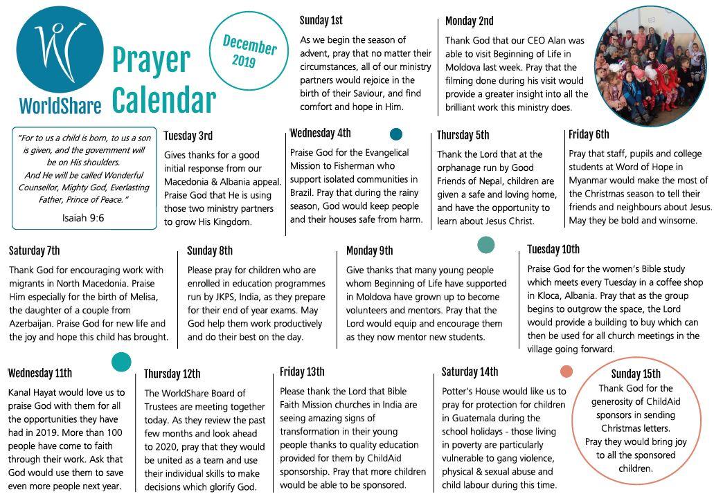 Prayer Calendar December 2019