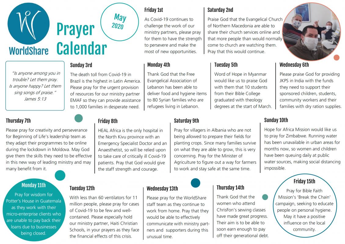 Prayer Calendar Image, May 2020