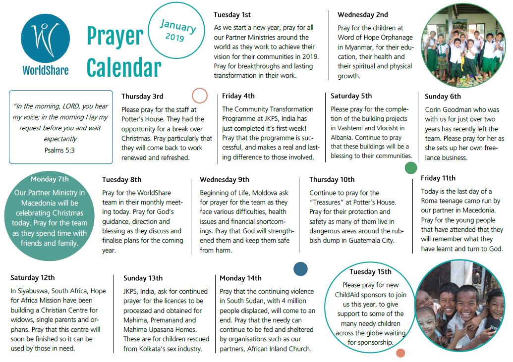 Prayer Calendar January 2019