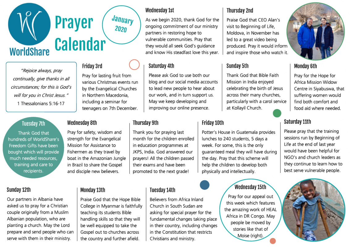 Prayer Calendar January 2020 snapshot
