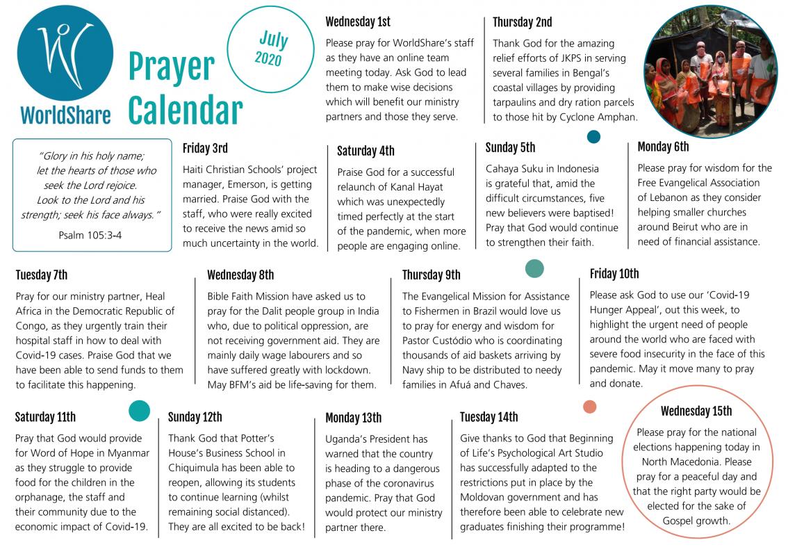 Prayer Calendar July 2020