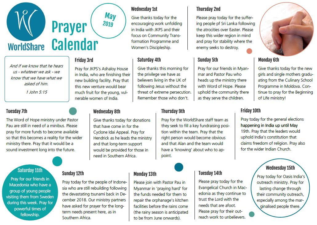 Prayer Calendar May 2019