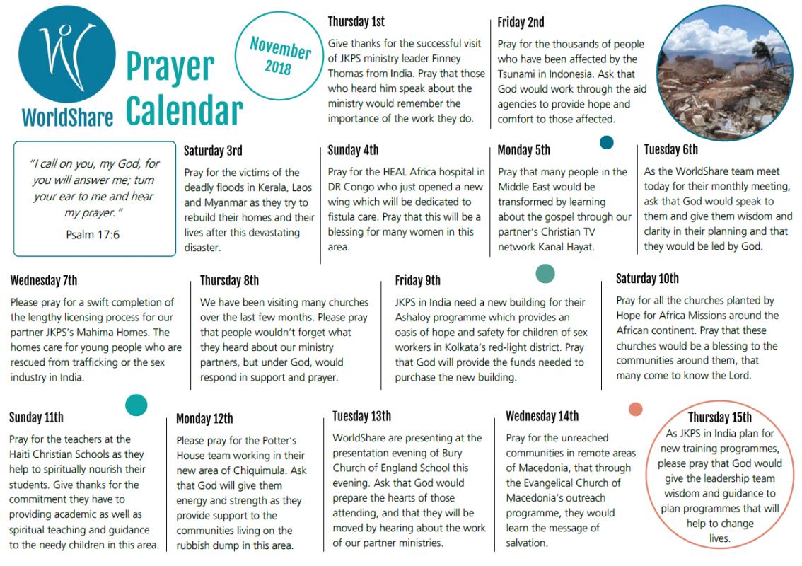 Prayer Calendar November 2018