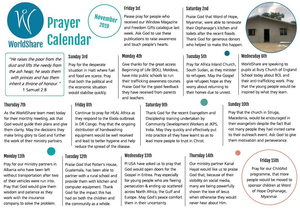 Prayer Calendar November 2019