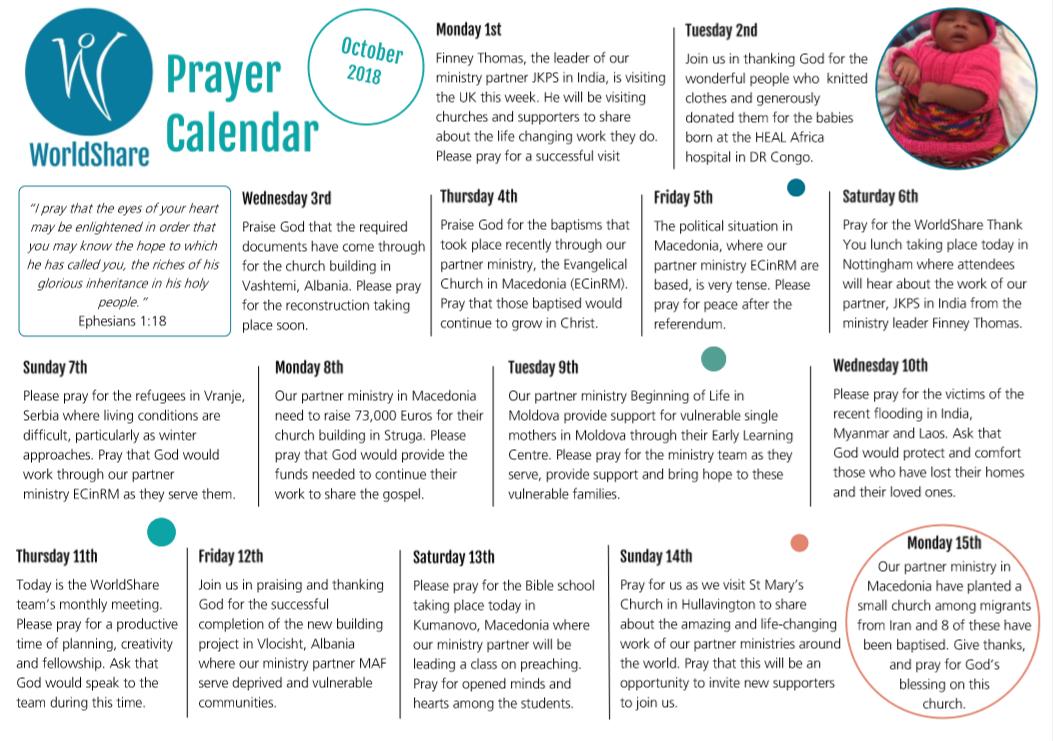 Prayer Calendar October 2018