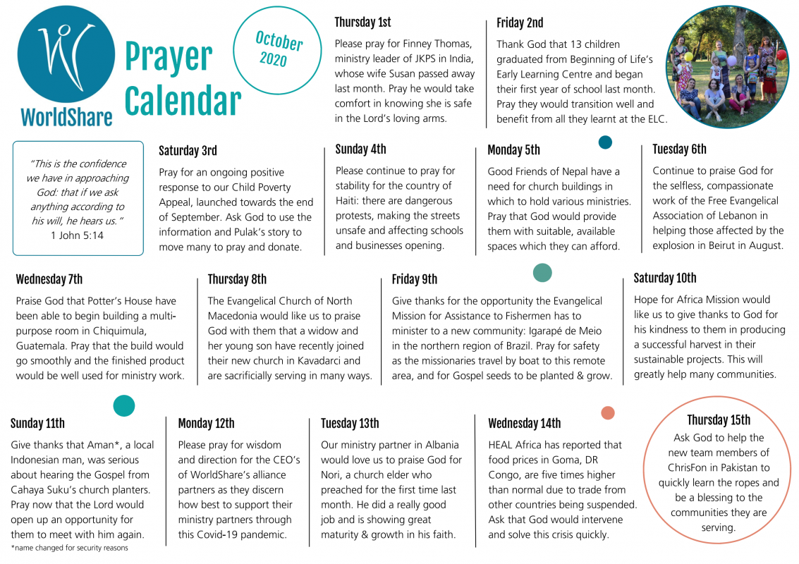 Prayer Calendar October 2020