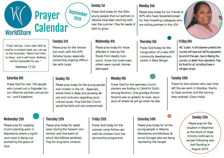 Prayer Calendar Sept 2019