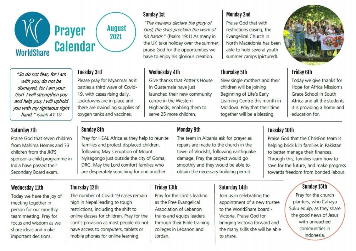 August prayer calendar