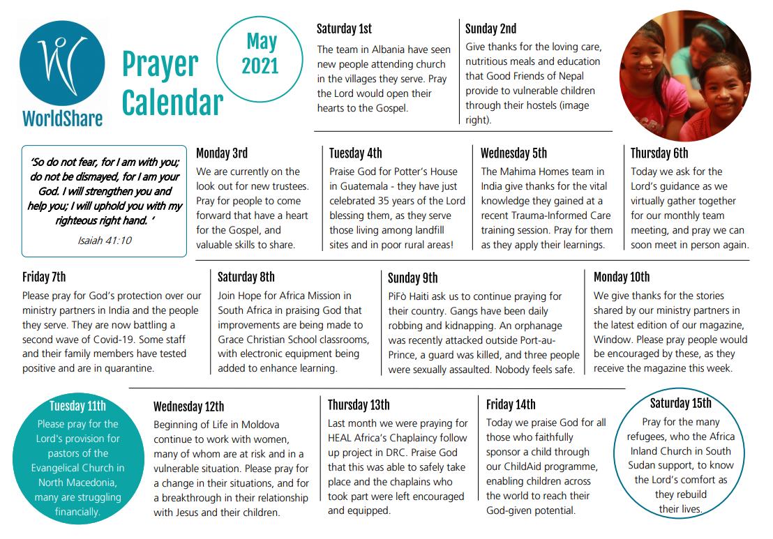May prayer calendar
